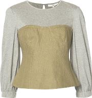 Tibi , Hessian Bustier Top Women Cottonlinenflax 6, Grey