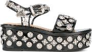 Toga Pulla , Studded Platform Sandals Women Rubberpatent Leatherleather 40, Black