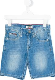 Tommy Hilfiger Junior , Denim Bermuda Shorts Kids Cottonlinenflaxlyocell 7 Yrs, Blue