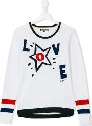 Tommy Hilfiger Junior , Love Jumper Kids Cotton 14 Yrs, White