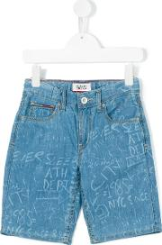 Tommy Hilfiger Junior , Printed Denim Shorts Kids Cotton 12 Yrs, Blue