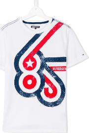 Tommy Hilfiger Junior , Printed T Shirt Kids Cotton 16 Yrs, White