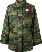 Tommy Jeans , Camouflage Print Military Jacket Women Cotton Xs, Green