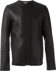 Tony Cohen , Textured Biker Jacket Men Leatherlinenflaxsilkpolyurethane 50, Black