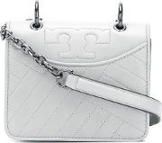 Tory Burch , Alexa Shoulder Bag Women Leather One Size, Grey