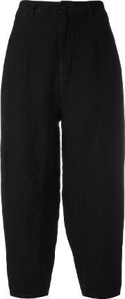 Transit , Cropped Trousers Women Linenflax 4, Black