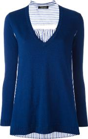 Twinset , Twin Set V Neck Knitted Top Women Cottoncashmere L, Blue