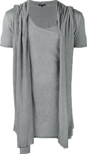 Unconditional , Draped Hooded Waistcoat T Shirt Men Rayon Xl, Grey