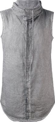 Unconditional , Sleeveless Funnel Neck Shirt Men Cotton L, Grey