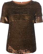 Vanessa Seward , Sequin Embellished T Shirt Women Silksequin 38, Brown