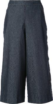 Vanessa Seward , Wide Leg Cropped Pants Women Cottonpolyurethane 40, Blue