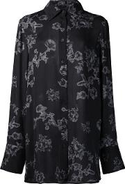Vera Wang , Floral Print Shirt Women Silk 12, Black