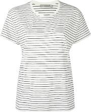 Vince , Striped Relaxed T Shirt Women Supima Cotton M, White