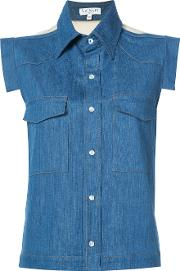 Vionnet , Sleeveless Denim Shirt Women Cottonspandexelastane 40, Blue