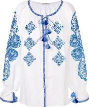Vita Kin , Embroidered Tassel Top Women Linenflax One Size, White