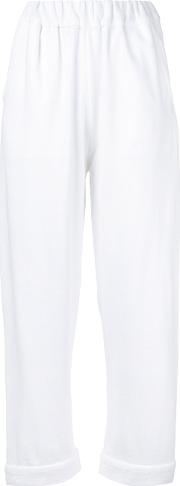Water , Elasticated Waistband Cropped Trousers Women Cotton S, White