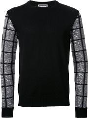 Wooyoungmi , Checked Sleeve Jumper Men Acrylicpolyester 46, Black