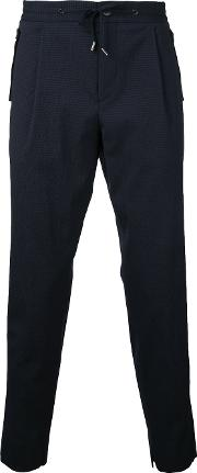 Wooyoungmi , Drawstring Textured Trousers Men Elastodienepolyamidewool 52, Blue