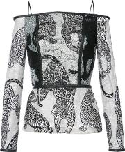 Yigal Azrouel , Off Shoulders Leopard Embroidery Blouse Women Polyester 4, Black