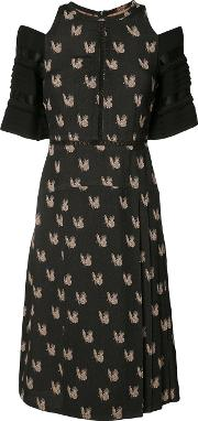 Yigal Azrouel , Parakeet Jacquard Dress Women Acetateviscose 6, Black