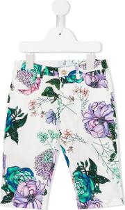 Young Versace , Floral Print Trousers Kids Cotton 10 Yrs, White