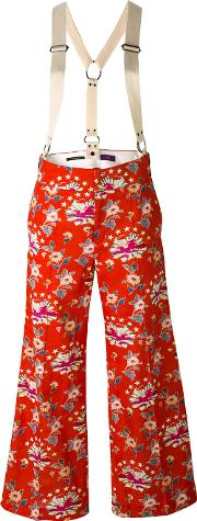 Ys , Y's Floral Wide Leg Trousers Women Cottoncupro 1, Red