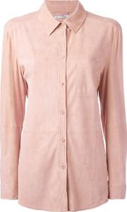 Desa Collection , Chest Pocket Shirt Women Suede 40, Pinkpurple