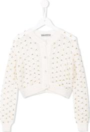 Ermanno Scervino Junior , Embroidered Open Knit Cardigan Kids Nylonmohairwool 6 Yrs, Girl's, White