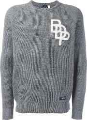 Bleu De Paname , Logo Rib Knit Jumper Men Silkacrylicvirgin Wool S, Grey