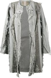 By Walid , 18th Century Embroidered Coat Women Cotton L, Women's, Grey