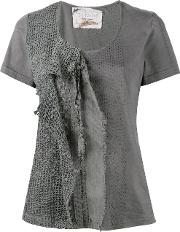 By Walid , 'jodie' Lace And Crochet T Shirt Women Cotton L, Women's, Grey