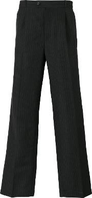 Gosha Rubchinskiy , Pinstriped Trousers Men Linenflaxcuprowool L, Grey