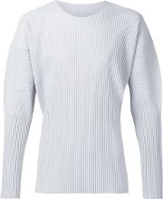 Homme Plisse Issey Miyake , Long Sleeve Pleated T Shirt Men Polyester 4, Grey