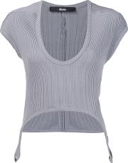 Musee , Ribbed Scoop Neck T Shirt Women Cotton S