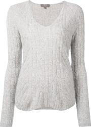 Npeal , N.peal Diagonal Cable V Neck Jumper Women Cashmere L, Women's, Grey