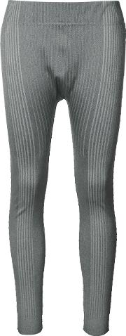 Pleats Please By Issey Miyake , Ribbed Sports Leggings Women Nylonpolyesterpolyurethane 3, Women's, Grey