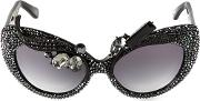Amorir , A Morir Embellished Cats Eye Sunglasses Unisex Acetatecrystal One Size