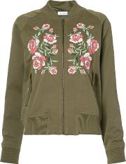 Anine Bing , Embroidered Bomber Jacket Women Cottonviscose S, Women's, Green