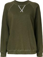 Bassike , V Insert Sweatshirt Women Cotton 12, Women's, Green