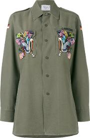 Forte Couture , Eagle Embroidered Military Shirt Women Cottonpolyester 40, Women's, Green