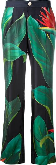 Frs For Restless Sleepers , F.r.s For Restless Sleepers Flower Print Straight Trousers Women Silk L, Black