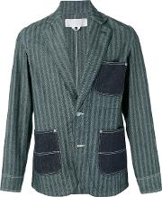 Ganryu Comme Des Garcons , Striped Denim Pocket Blazer Men Cotton M, Blue