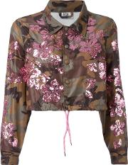 Gcds , Sequined Camouflage Print Cropped Jacket Women Polyamide Xs, Women's, Green