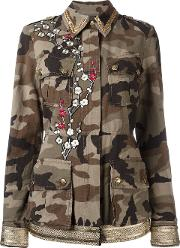 History Repeats , Embroidered Camouflage Print Jacket Women Cotton 42, Women's, Green