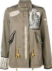 History Repeats , Embroidered Jacket Women Cotton 38, Women's, Green