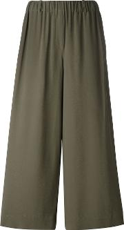 Incotex , Elasticated Waistband Cropped Trousers Women Silkacetate 42, Women's, Green