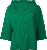 Issey Miyake Cauliflower , Ribbed Wide Funnel Neck Top Women Polyester One Size, Women's, Green