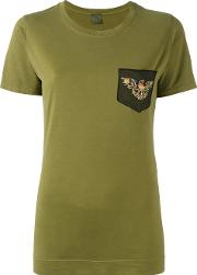 Mr & Mrs Italy , Bead Embellished Eagle Embroidered T Shirt Women Cotton 40, Women's, Green