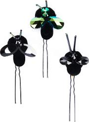Piers Atkinson , Crystal Bug Hair Pins Women Metal Other Wool Feltglass One Size, Women's, Black