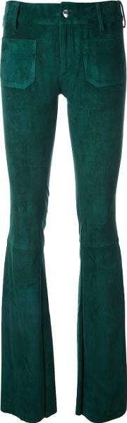 The Seafarer , Suede Flared Trousers Women Leather M, Women's, Green